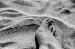 Cinque piedi umani con calze e scarpe affiorano dal mare sulle coste del Canada
